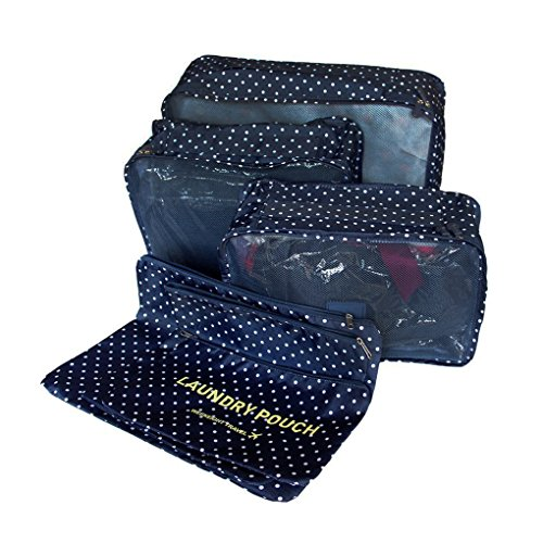 Packing Cubes Storage Bag Travel Essential Bags-in-Bag Luggage Package Cosmetic Make-up Laundry Toiletry Case Pocket Clothes Shoe Lingerie Bra Underwear Storage Bag Luggage Organizer -6 pcs (dot-blue) by JIAHG