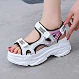 HTHJSCO Women Muffin Platform Sandals Silver Shine