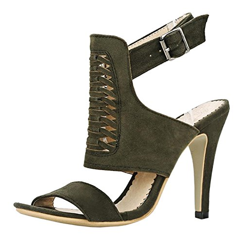 Sandals Heels Taoffen Strap Army Women Green Ankle pwTqCAnU