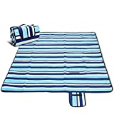 Picnic Blanket, CAMTOA Extra Large Outdoor Blanket with Tote, 80 X 80'' (200 X 200 CM), Foldable and Waterproof Sandproof Handy Mat for Family Camping on Grass, Beach, Outdoor Picnic, Hiking, Park&etc