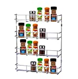 EXSR004-4 Herb and Spice Rack 4 Tiers – Kitchen shelf organiser for jars, perfect space saving and storage. Can be wall mountable or cupboard door fitting (Fixings included in the package) (4 Tiers)