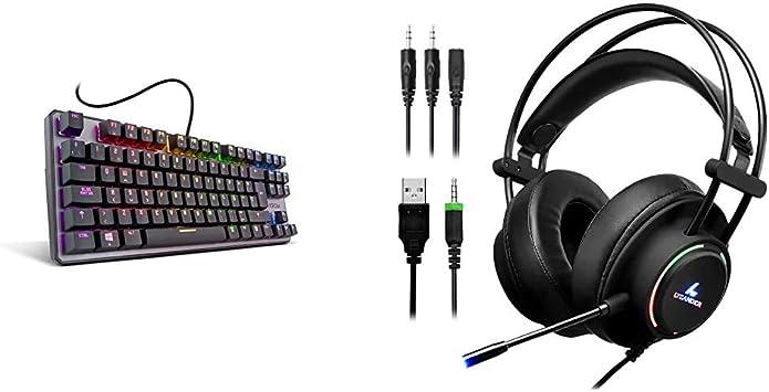 Krom Kernel Tkl Teclado Mecánico Español Gaming RGB, Color Negro + LYCANDER Auriculares de Diadema para Juegos con luz LED para micrófono, Entrada de ...