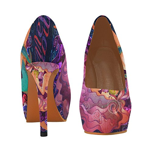 Pump Womens Heels Muraena Fish InterestPrint bees With Mermaid High Shoes Sexy q6wq41pR