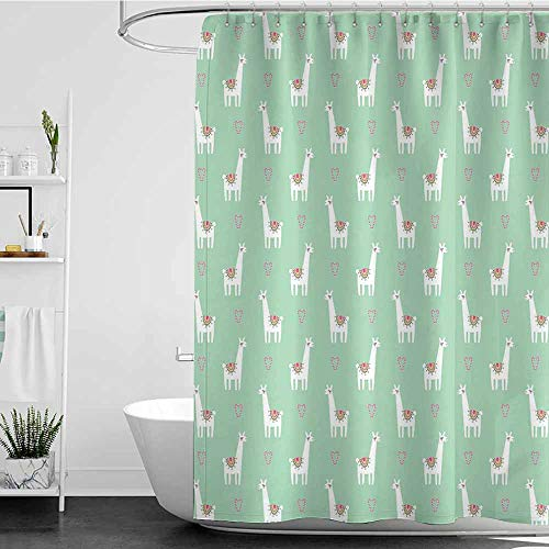 Tim1Beve Funny Shower Curtain,Llama Cute Llama with Candy Cane Hearts Fun Pattern on Mint Green Background,Waterproof Colorful Funny,W48x84L Mint Green Multicolor