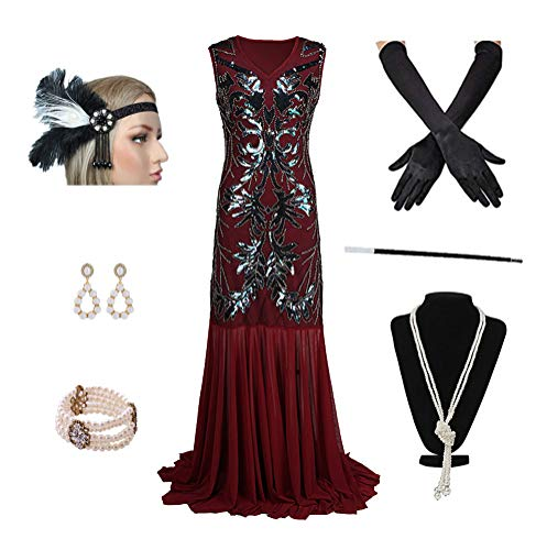 1920s Women's Gatsby Costume Flapper Dresses Neck Long Dress with 20s Accessories Set of ()