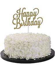 Sunny ZX Gold glitter Happy birthday cake topper, birthday party decoration, handmade