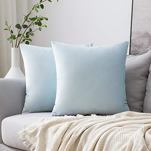 MIULEE Pack of 2 Velvet Pillow Covers Decorative Square Pillowcase Soft Solid Cushion Case for Sofa Bedroom Car 18 x 18 Inch Baby Blue