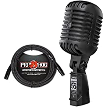 Shure Super 55-BLK Deluxe Vocal Microphone Limited Edition Pitch Black & Pig Hog Black & White Woven Cable