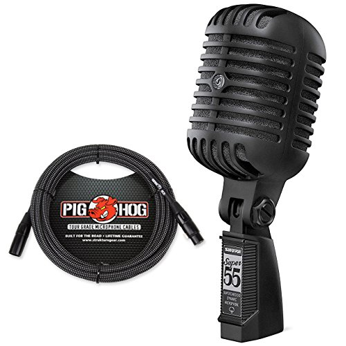 Shure Super 55-BLK Deluxe Vocal Microphone Limited Edition Pitch Black & Pig Hog Black & White Woven Cable by Shure