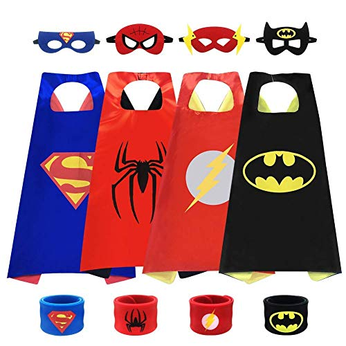 Cartoon Capes, Cartoon Dress up Costumes, Children's Costume Scapes & Masks & Bracelets, Kids Masquerade Birthday Party Dress-up (4pcs Capes) -