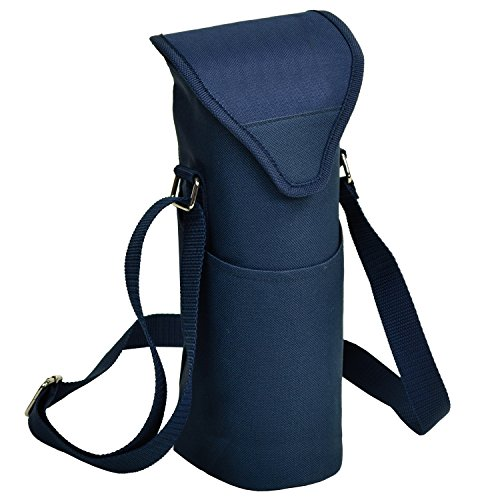 Picnic at Ascot Insulated Wine/Water Bottle Tote with Shoulder Strap -  Navy ()