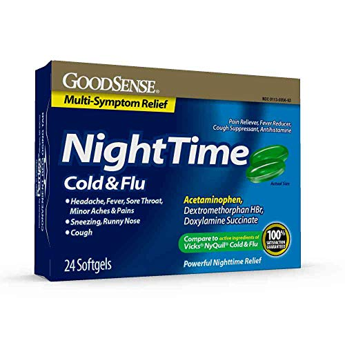 GoodSense Nighttime Cold and Flu Multi-Symptom Relief Softgel, 24 Count