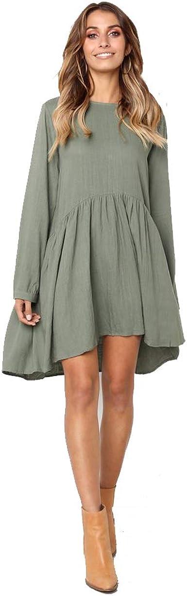 Vestido Casual Cuello Redondo Manga Larga algodón y Lino Vestido Plisado Mujer: Amazon.es: Ropa y accesorios