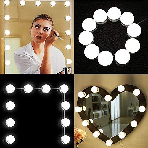 Luces de Espejo de Tocador, Estilo Hollywood 10 Bombillas LED USB Regulables Espejo de Maquillaje Cosmético, Lámpara de Baño Tocador, Espejo, ...