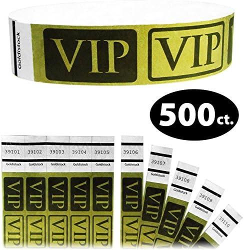 Heavier Tyvek Wristbands 7.5 Mil - Goldistock VIP Deluxe Metallic Gold 500 Count - ¾\u201d Arm Bands - Paper-Like Party Armbands - Heavier Tyvek Wrist Bands = Upgrading Your Event