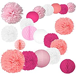 "20 Pcs Party Tissue Paper Pom Poms Set Decoration for Birthday, Baby Shower,Wedding-Pink Shades Décor- (12"", 10"", 8"" Paper Flowers, Lanterns, Honeycombs) (Deep Pink, Rose, Lavender Blush and White)"