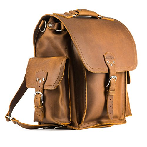 (Saddleback Leather Co. Full Grain Leather Backpack Squared Travel School Book Bag Includes100 Year)