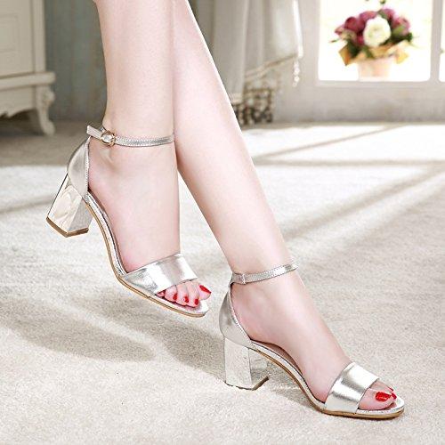 Moda Mujer verano sandalias confortables tacones altos,38C rojo Silver