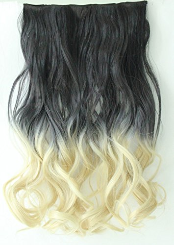 """20"""" 22"""" 3/4 Full Head Clip in Hair Extensions Ombre One Piece 2 Tones Wavy Curly Black Brown Blonde (Natural black to platinum blonde)"""