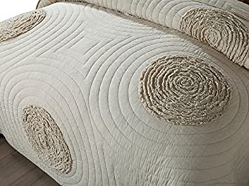 Unimall Tagesdecke 230x250 cm Natur Beige aus 100/% Bio Baumwolle als /Überwurf im Schlafzimmer mit Elegante Mustetung