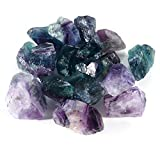 """Bingcute 1pound 1-1.5"""" inch Rough Rainbow Fluorite Gemstone - Raw Natural Crystals for Cabbing, Cutting, Lapidary, Tumbling, Polishing, Wire Wrapping, Wicca and Reiki Crystal Healing"""