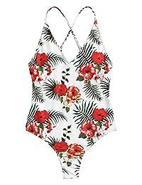 SOLY HUX Traje de baño Sexy de una Pieza con Espalda de Encaje y Push up para Mujer, Tropical Floral #1, M