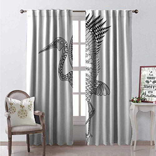 Crane Waterproof Window Curtain Hand Drawn Brolga Australian Bird Illustration Detail Antistress Coloring Concept Decorative Curtains for Living Room W96 x L84 Black White