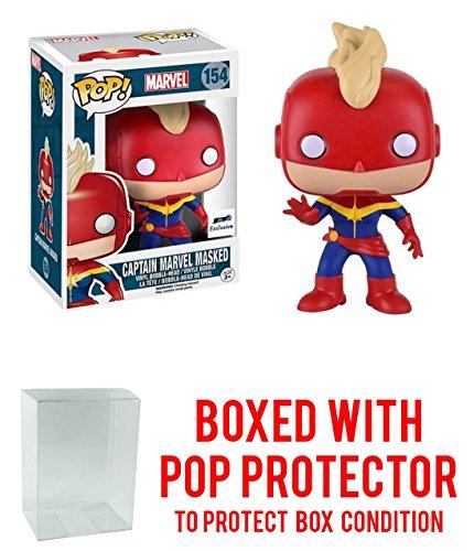 [Funko Pop Vinyl Captain Marvel Masked Exclusive Bobblehead Figure 154 with Box Protector] (Jessica Jones Marvel Costume)