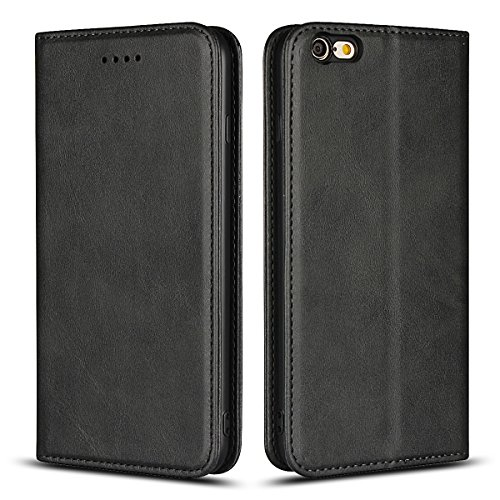 Jaorty iPhone 6s Plus Wallet Case, iPhone 6 Plus Case, Premium PU Leather Flip Folio Case with Card Slot, Stand Holder and Magnetic Closure [TPU Shockproof Interior Protective Case], Black