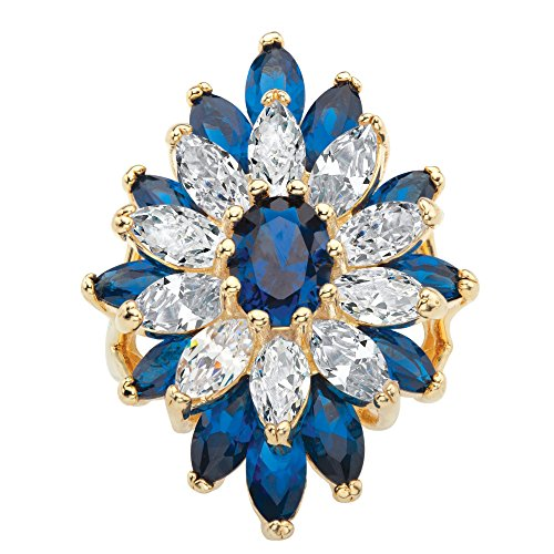 Palm Beach Jewelry 14K Yellow Gold-Plated Oval Cut Lab Created Blue Spinel Cubic Zirconia Floral Ring Size (Palm Womens Ring)