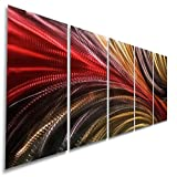 Red, Gold and Charcoal Abstract Metallic Wall Painting - Modern Contemporary Home Office Decor Hanging Sculpture Art - Cosmic Significance 2 by Jon Allen