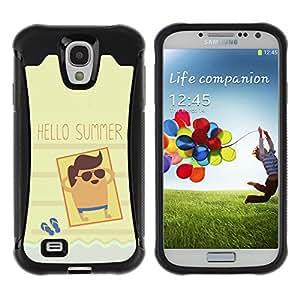 WAWU Funda Carcasa Bumper con Absorci??e Impactos y Anti-Ara??s Espalda Slim Rugged Armor -- summer sun beach tan seaside cool -- Samsung Galaxy S4 I9500