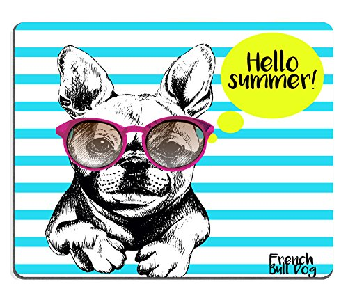 Wknoon Cute Gaming Mouse Pad Custom, Funny French Bull Dog Vector with Sunglasses Cute Navy Stripes, Personalized Design Thick Rubber - Vector Sunglasses
