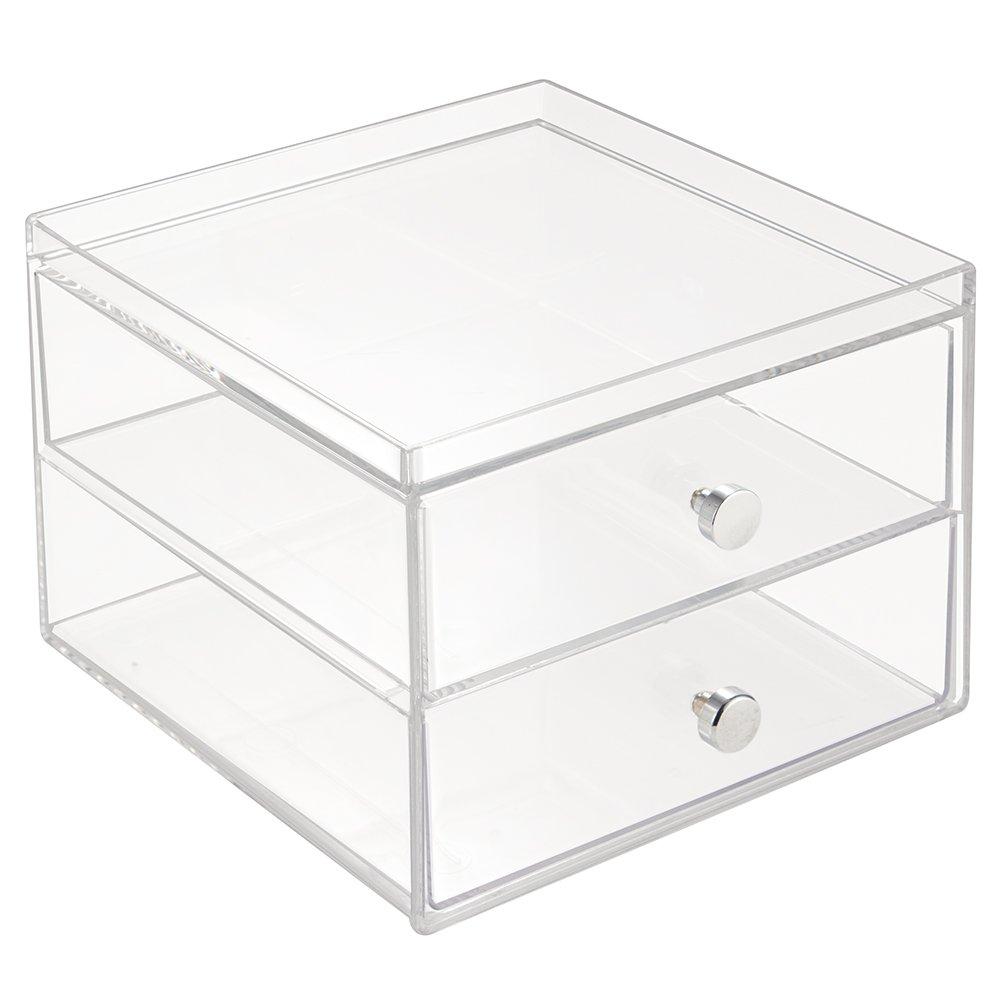 InterDesign Drawers Caja con compartimentos | Caja de maquillaje con 2 cajones y bandeja superior | Organizador de maquillaje o artículos de oficina | Plástico transparente Interdesign ES Amazon 39260
