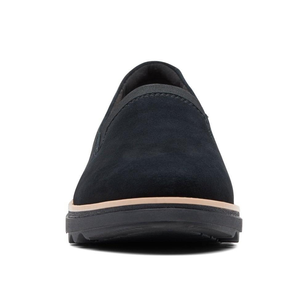 Clarks Wildleder Keilabsatz Schuhe Rauchen Slipper Loafer Schuhe Keilabsatz Schwarzes Wildleder efa69b