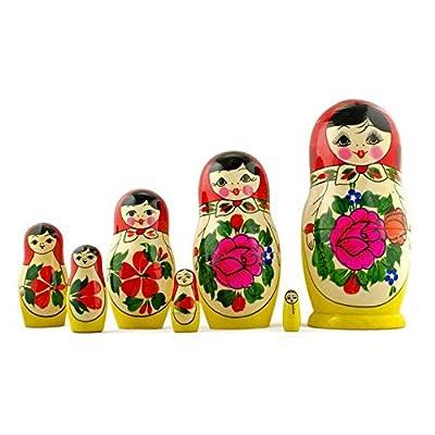 BestPysanky Set of 7 Semenov Traditional Hand Painted Wooden Matryoshka Nesting Dolls 7 Inches: Toys & Games