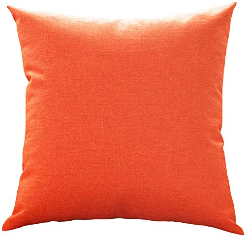 Ihpbaont Linen Square Throw Pillow Decorative Solid Toss Pillow for Sofa/Bench/Couch, Orange, 18