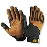 Valeo Industrial V265 Extreme Leather Pro Gloves with TPR Fingers, VI4853, Pair, Brown, Medium