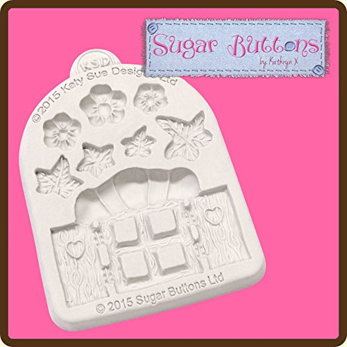 Sugar Buttons Cupcake Fondant Embellishment Mould: Enchanted Windows & Flowers