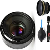 Canon 50mm 1.8 II Lens + Deluxe Lens Cleaning Pen + Deluxe Lens Blower Brush + High Definition Wide Angle Auxiliary Lens