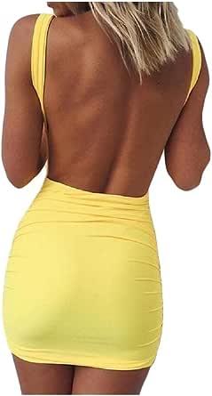 DressUWomen Correa sin respaldo curvilíneo mangas atractivo sólido vestido corto para Mujers