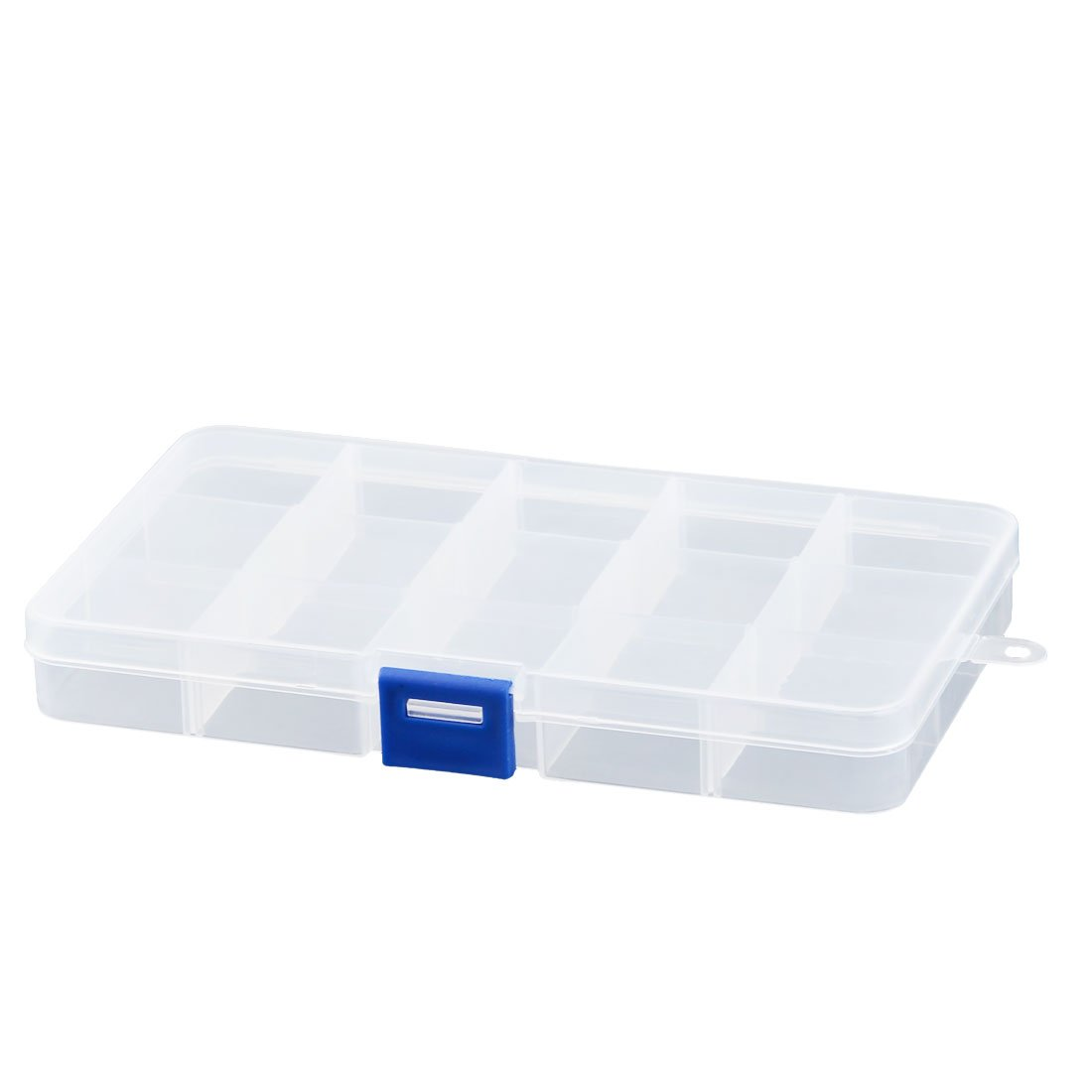 uxcell Plastic Rectangle Jewelry Earring 15 Compartments Storage Divider Case Container a16120800ux0167
