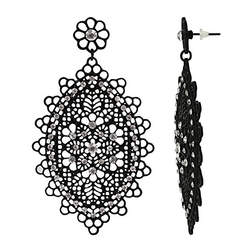 Filigree Flower Shape Earrings - Black Color captivating Filigree Floral Dangle Earrings with marquise shape Rhinestones accents