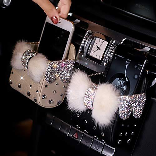 Pro-Cush Diamond Crystal Bowknot Portable Car Storage Box Bag Mink Fur Auto Vent Mount Holder Cosmetics Case Universal Mobile Phone Bag (Color Name : Mink Fur Black)