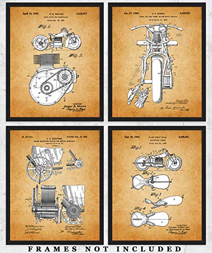 Vintage Indian Motorcycle Patent Wall Art Prints: Unique Room Decor for Boys & Men - Set of Four (8x10) Unframed Pictures - Great Gift Idea for Indian Motorcycle Fans!