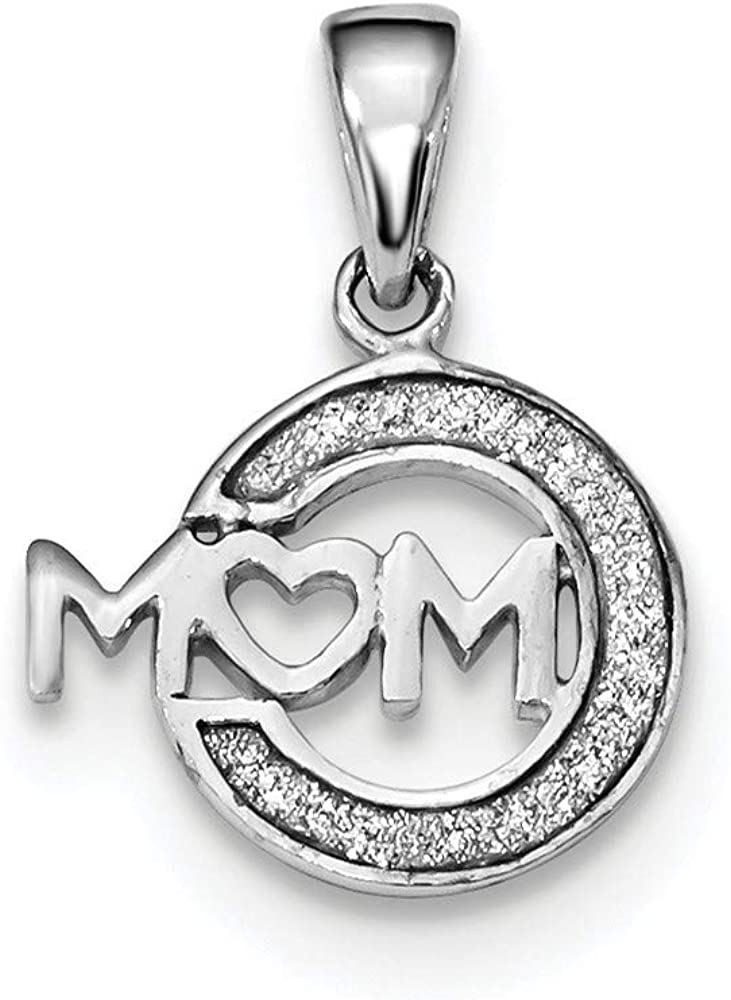14mm 925 Sterling Silver Rhodium plated Enamel Glitter Fabric Mom Pendant Necklace Jewelry Gifts for Women