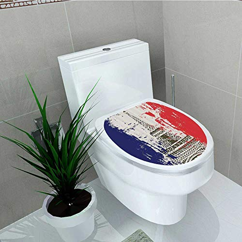 Printsonne Toilet Sticker Style French Flag Eiffel Tower City Love in Retro Colors Europe Home Decor Applique Papers W13 x L18