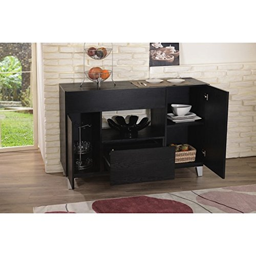 Custom Brown Wood Carrera Contemporary Black Dining Buffet Storage Server by Furniture of America