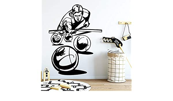 Snooker Billar Autoadhesivo Vinilo Impermeable Pared Arte calcomanía Pared calcomanía decoración Pegatina Mural Negro M 30cm X 39cm: Amazon.es: Hogar