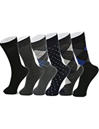 Men's Cotton 6 Pack Dress Socks Solid Ribbed Argyle Shoe Size 6-12